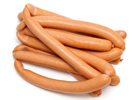 sausages isolated on white background photo