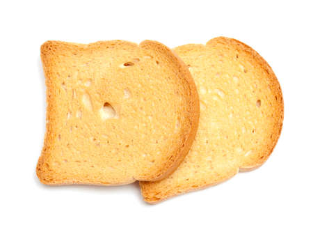 bread rusks isolated on white background photo