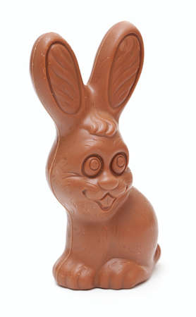 Easter chocolate bunny on white background photo