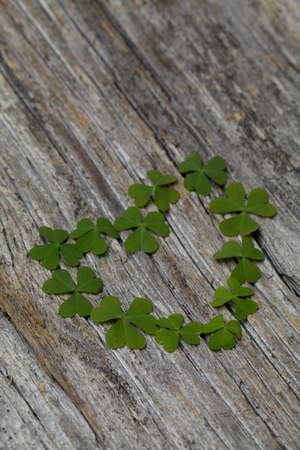st patty day: clover heart on wooden surface Stock Photo
