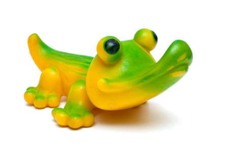 rubber crocodile toy isolated on white photo