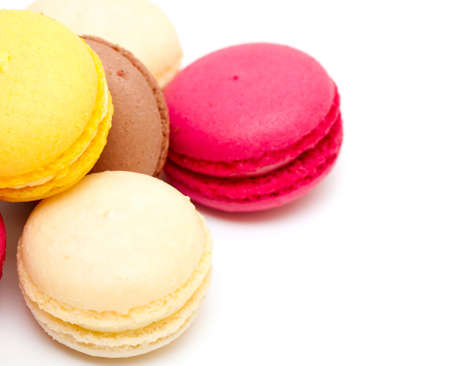 macaroons isolated on white background photo