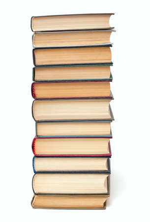 overachiever: book stack isolated on white background Stock Photo
