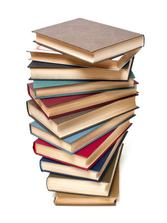 overachiever: stack of books on white background