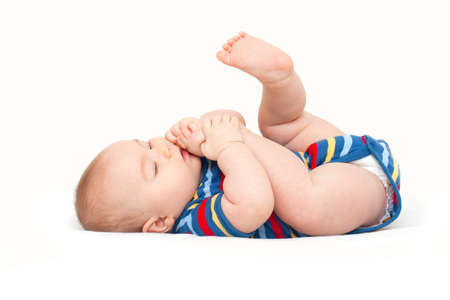 babies laughing: baby reaching his legs
