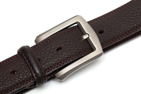 new leather belt isolated on white photo