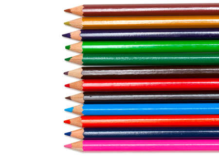 colorful pencils on white background photo