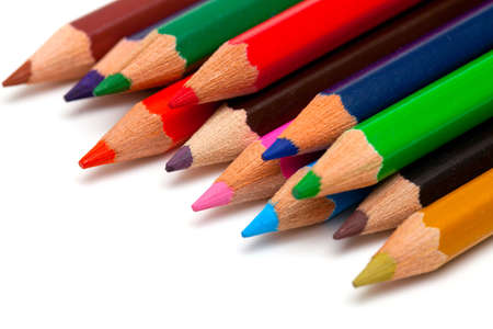 colorful pencils on white background Stock Photo - 14253276