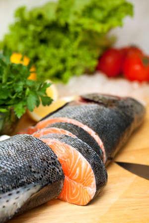 dog salmon: salmon on cutting board Stock Photo