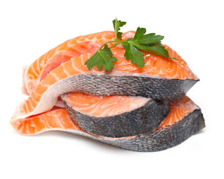 fresh salmon with parsley photo