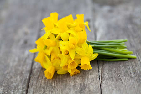 bunch of narcissus flowers on wooden table photo