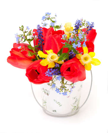 Bouquet of spring flowers on white background photo