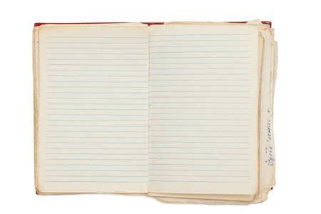 수첩: 흰색에 고립 된 열린 된 노트북