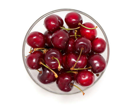 cherry in a bowl isolated on white, top view Stock Photo - 14447235