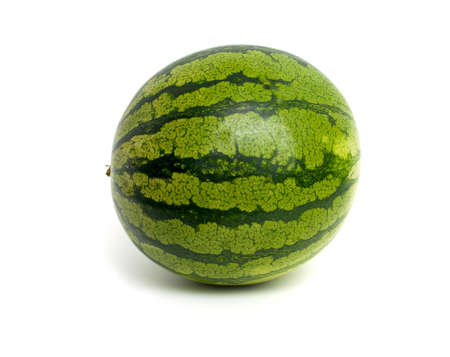 striped water melon isolated on white photo