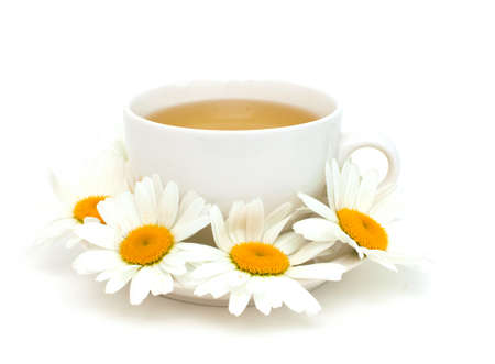 camomile tea isolated on white Stock Photo - 14446488
