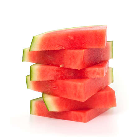 melon fruit: slices of water melon over white Stock Photo