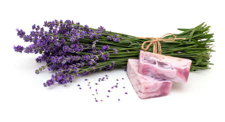 lavender soap isolated on white background photo