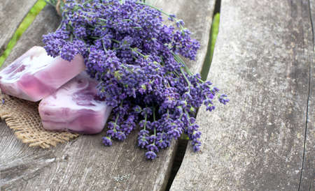 handmade lavender soap on wooden table Stock Photo - 14447734