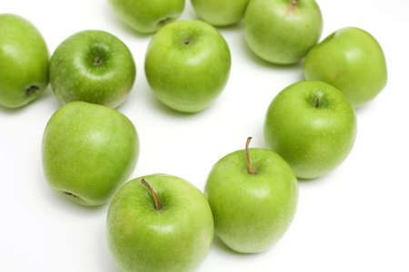 green apples on white background photo