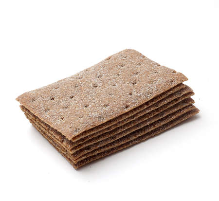 stack of crispbread on white background photo