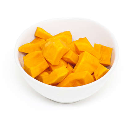 pieces of pumpkin in a white bowl Stock Photo - 14463234