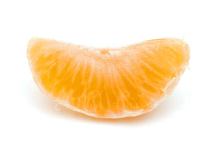 piece of mandarine on white photo