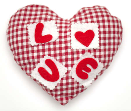 home accents: Pillow red and white heart shaped on white
