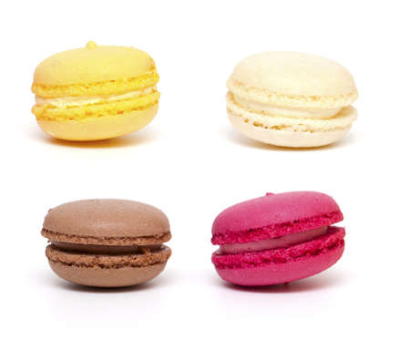 four macaroons on white background photo