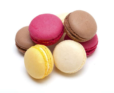 macaroons on white background photo
