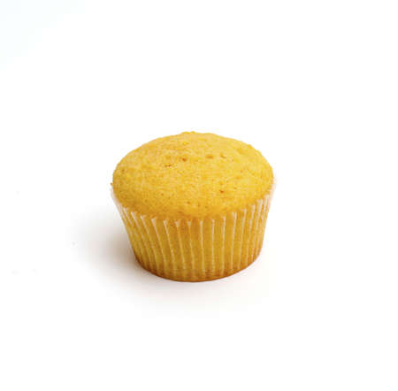 lemon cupcake isolated on white photo
