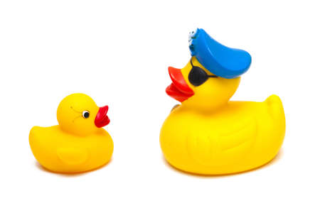 rubber pirate and baby ducks isolated on white background Stock Photo - 14463351