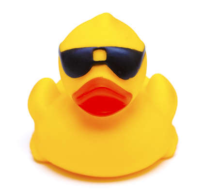 rubber ducky: duck toy with glasses Stock Photo