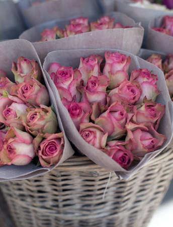 flower market: roses at flower market