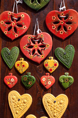 romantics: background of hearts made from clay