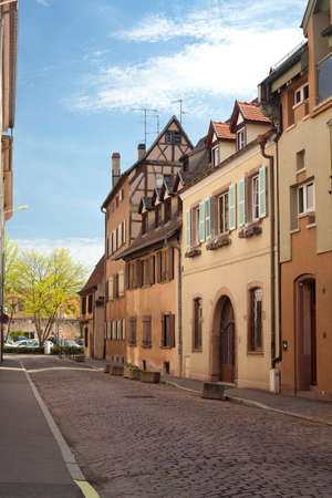 an empty street of french old town in spring photo
