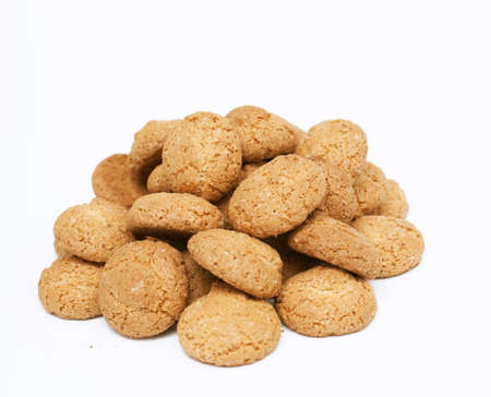 almond cookies isolated on white background photo