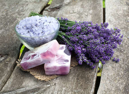 lavender bath sea salt and soap Stock Photo - 14647886