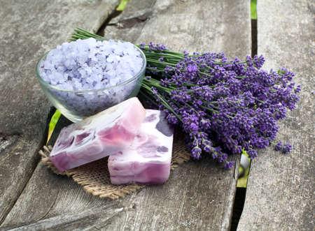 lavender bath sea salt and soap Stock Photo - 14647886