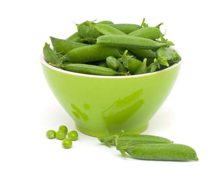 fresh peas isolated on white photo