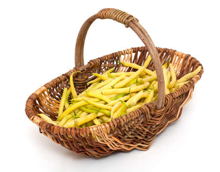 yellow kidney beans in a basket isolated on white Stock Photo - 14708803