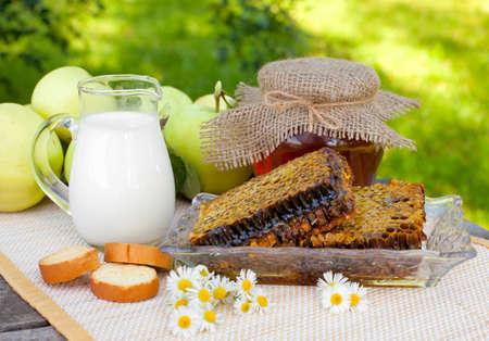 fresh honey combs, milk and fresh apples in the garden photo