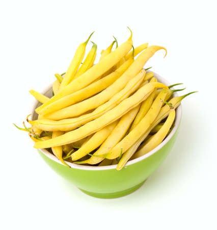 yellow kidney beans in a bowl isolated on white background Stock Photo - 14764992