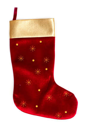 white stockings: Christmas sock isolated on white background