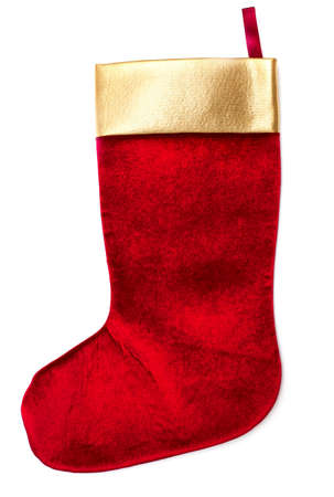 Christmas sock isolated on white background photo
