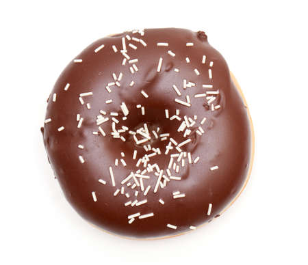chocolate doughnut isolated on white photo
