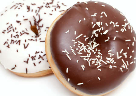 two doughnuts isolated on white backgorund photo