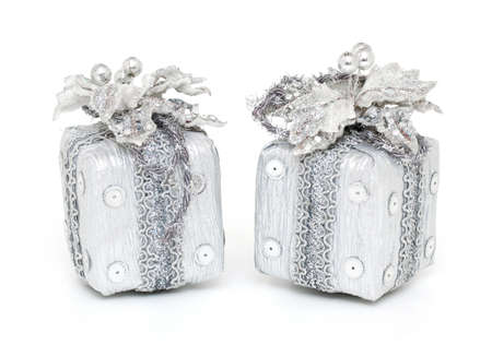 silver christmas: two Christmas gifts isolated on white background