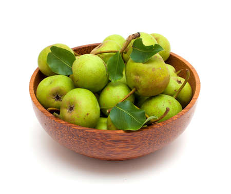 bowl with fresh pears isolated on white background Stock Photo - 15097240