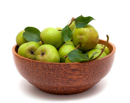 bowl with fresh pears isolated on white background Stock Photo - 15097253